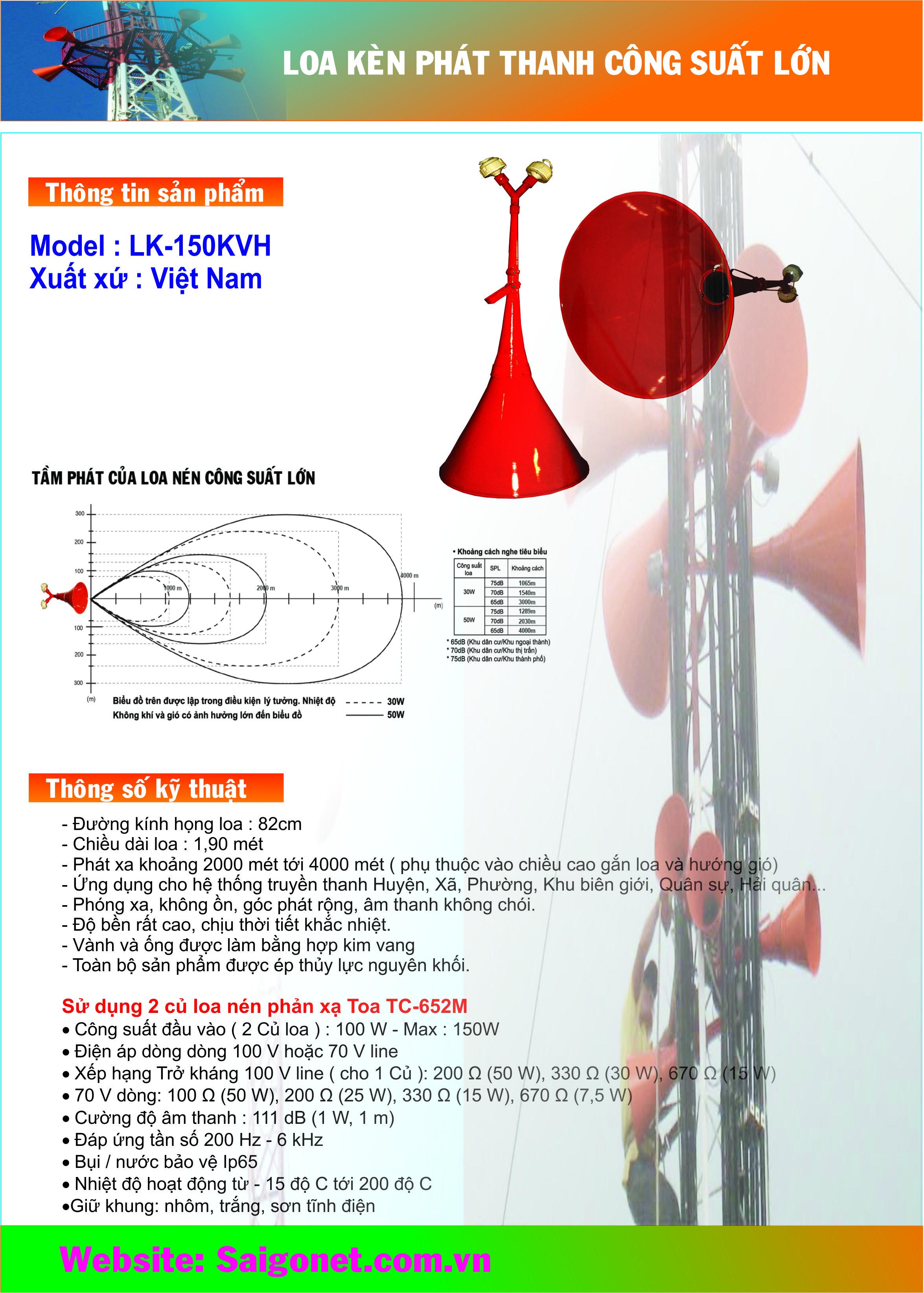 Loa kèn phát thanh 100W LK-150KVH