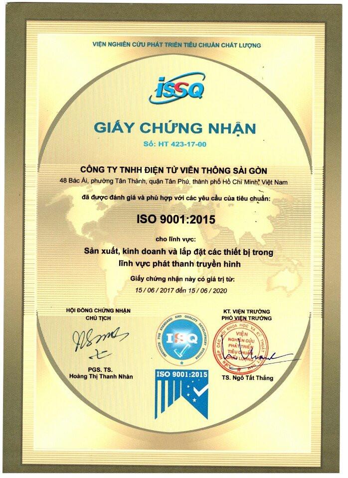 Công ty Saigonet chính thức đạt chuẩn ISO trong việc Sản xuất, cung cấp, lắp đặt trong PT-TH